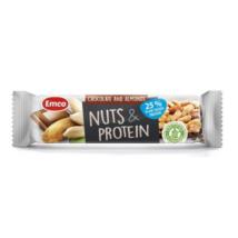 Emco földimogyoró és protein (fehérje) szelet csokoládéval és mandulával (gluténmentes), 40g