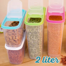 Magtároló edény 2L, műanyag, zárható kiöntőnyílással