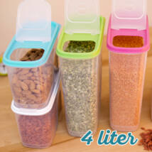 Magtároló edény 4L, műanyag, zárható kiöntőnyílással