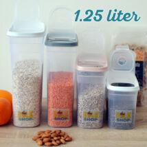Konyhai magtároló edény 1,25L, műanyag, zárható kiöntőnyílással