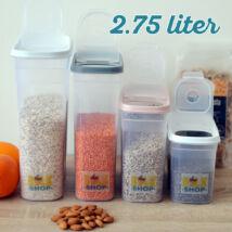 Konyhai magtároló edény 2,75L, műanyag, zárható kiöntőnyílással
