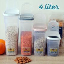 Konyhai magtároló edény 4L, műanyag, zárható kiöntőnyílással
