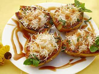 Feta sajttal töltött, grillezett körte vegán recept bulkshop plantbased növényi alapú