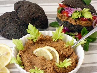 vegán halkrém banánvirágból és algából fekete zsömlével recept bulkshop plantbased