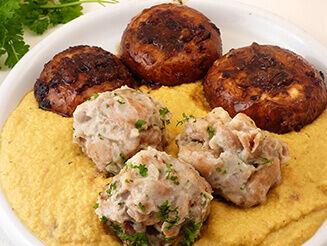 Zsemlegombóc zöldségmártásban portobelló gombával recept vegán plantbased növényi alapú