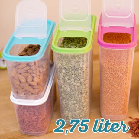 Magtároló edény 2,75L, műanyag, zárható kiöntőnyílással