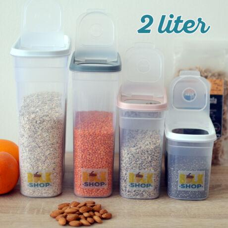 Konyhai magtároló edény 2L, műanyag, zárható kiöntőnyílással - Bulkshop