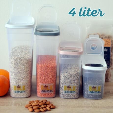 Konyhai magtároló edény 4L, műanyag, zárható kiöntőnyílással - Bulkshop