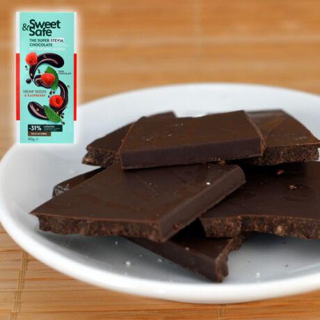 Sweet & Safe étcsokoládé, málna-kender, 90g