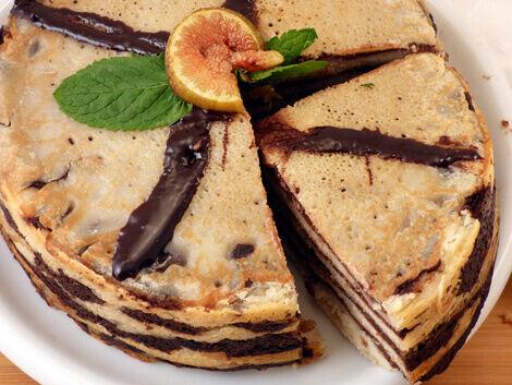 Csokoládés, kókuszkrémes palacsintatorta recept bulkshop vegán plantbased növényi alapú