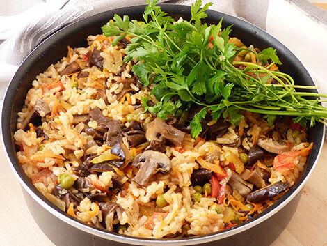 gombás paella recept bulkshop vegán plantbased növényi alapú
