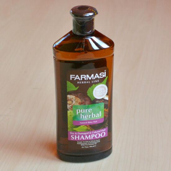 Gyógynövény sampon száraz, töredezett, festett hajra, 700ml, (lila orhidea, búzacsíra, gránátalma, gesztenye, B5 provitamin)
